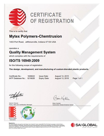 Mytex Award Certifications